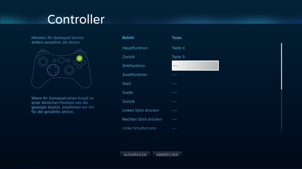 Steam Big Picture Mode - Xbox One Controller Belegung