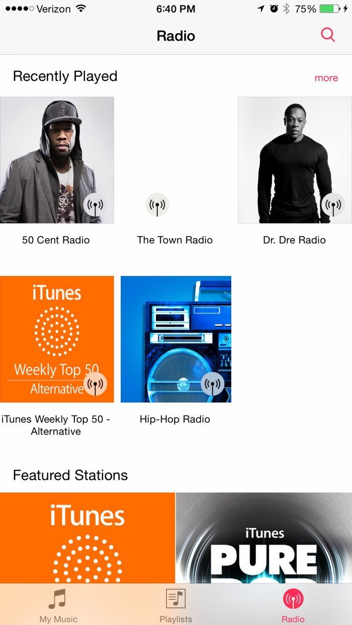 iOS 8.4 - Screenshot iTunes Radio