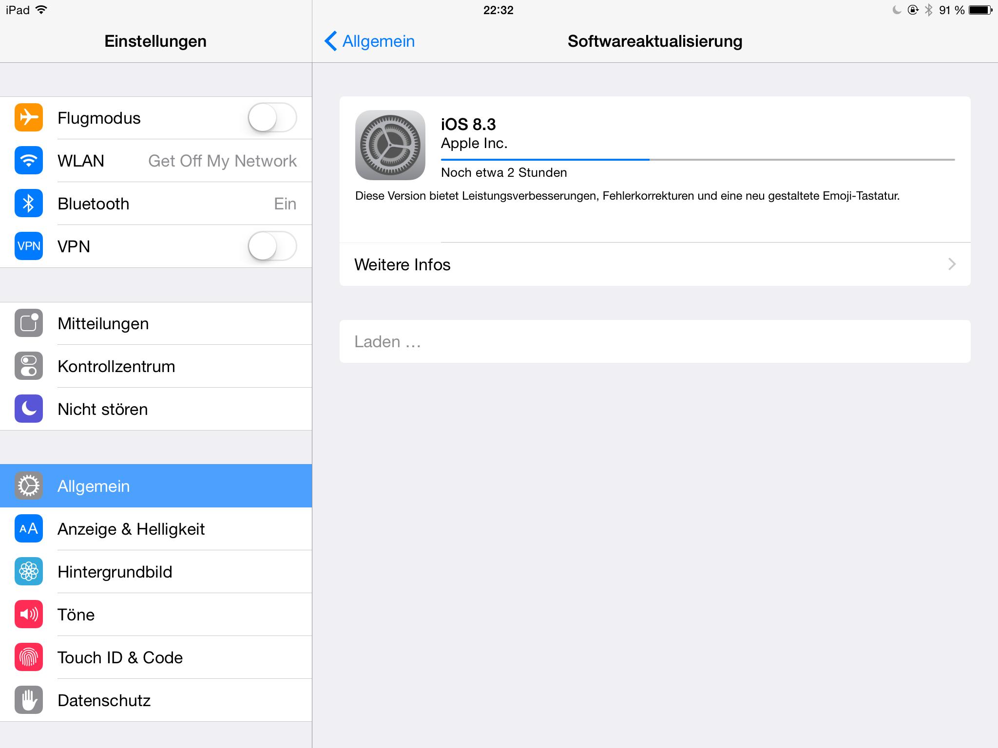 iOS 8.3 - Download auf dem iPad