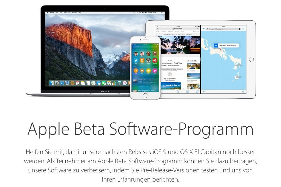 Apple Beta Softwareprogramm - iOS 9 und OS X El Capitan