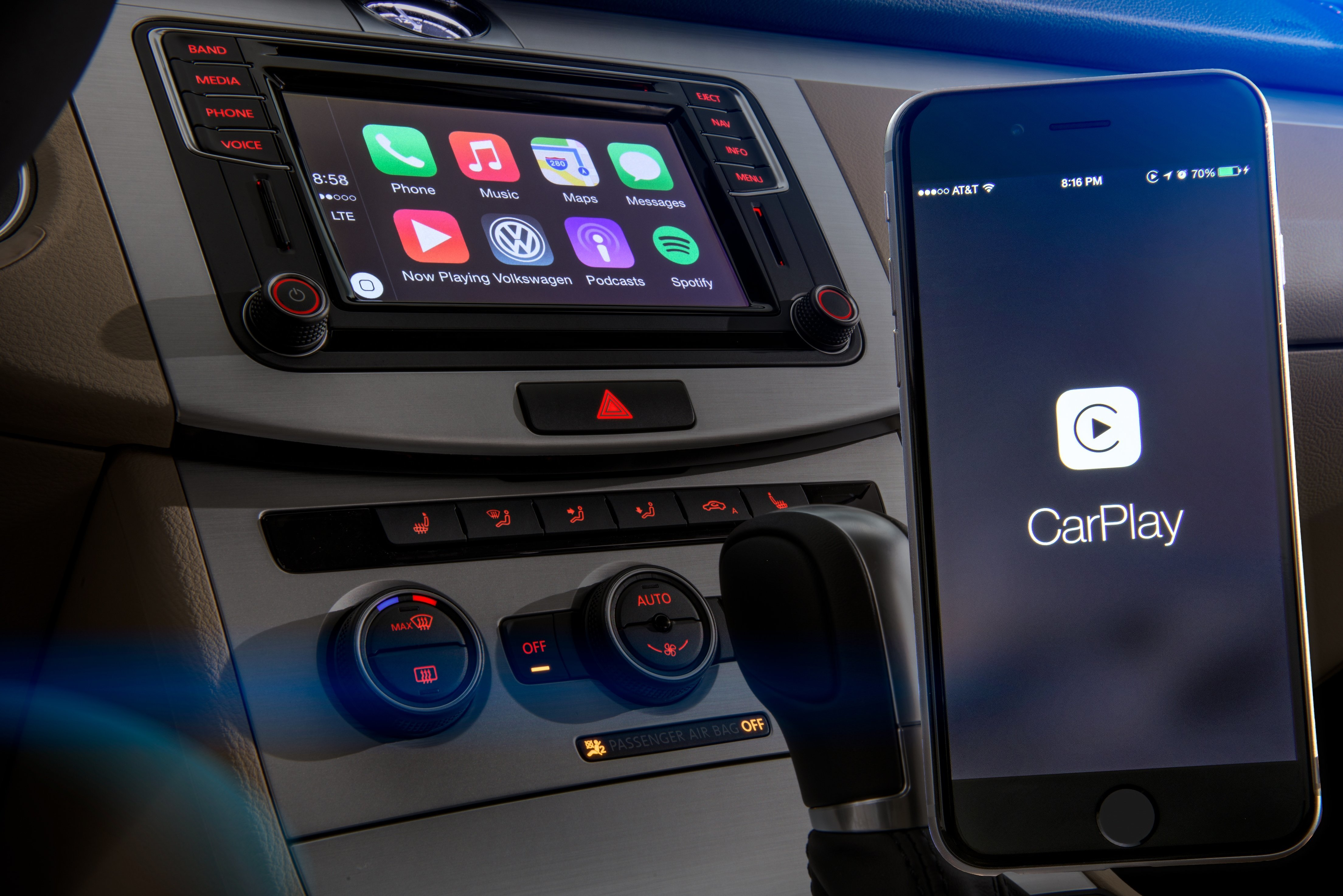 CarPlay in Volkswagen-Konsole
