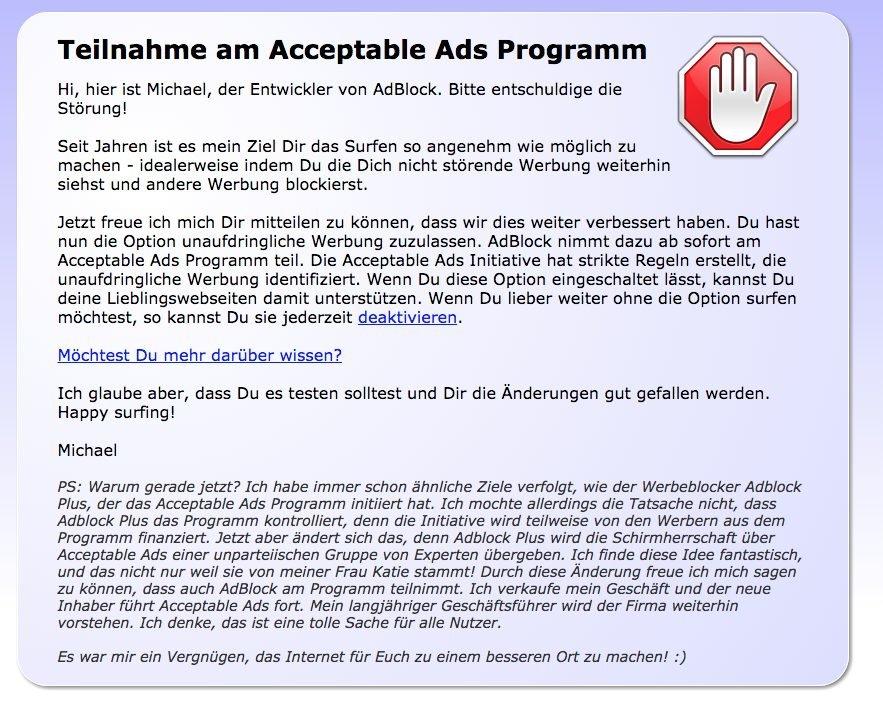 AdBlock - Meldung über Teilnahme am Acceptable Ads Programm