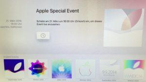 Apple Events, Foto der App für tvOS