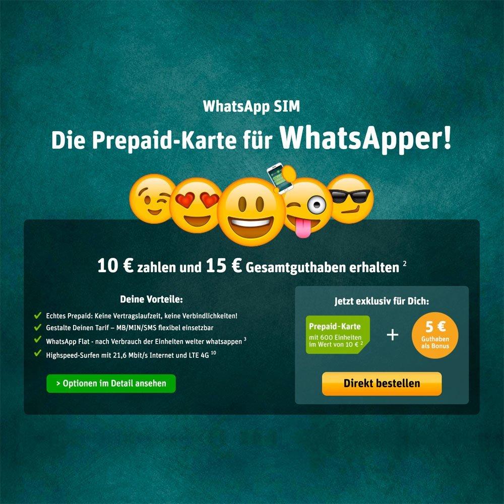 WhatsApp SIM Angebotsbanner
