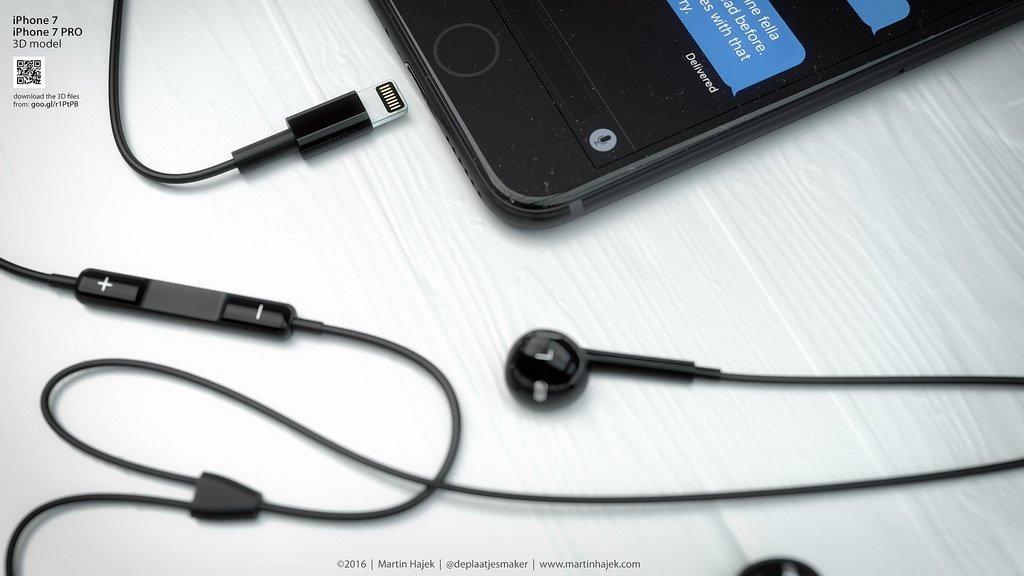 iPhone 7 und EarPods in Schwarz, Rendergrafik, Bild: Martin Hajek