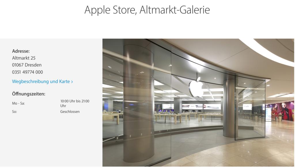 Alter Name für den Apple Store in Dresden