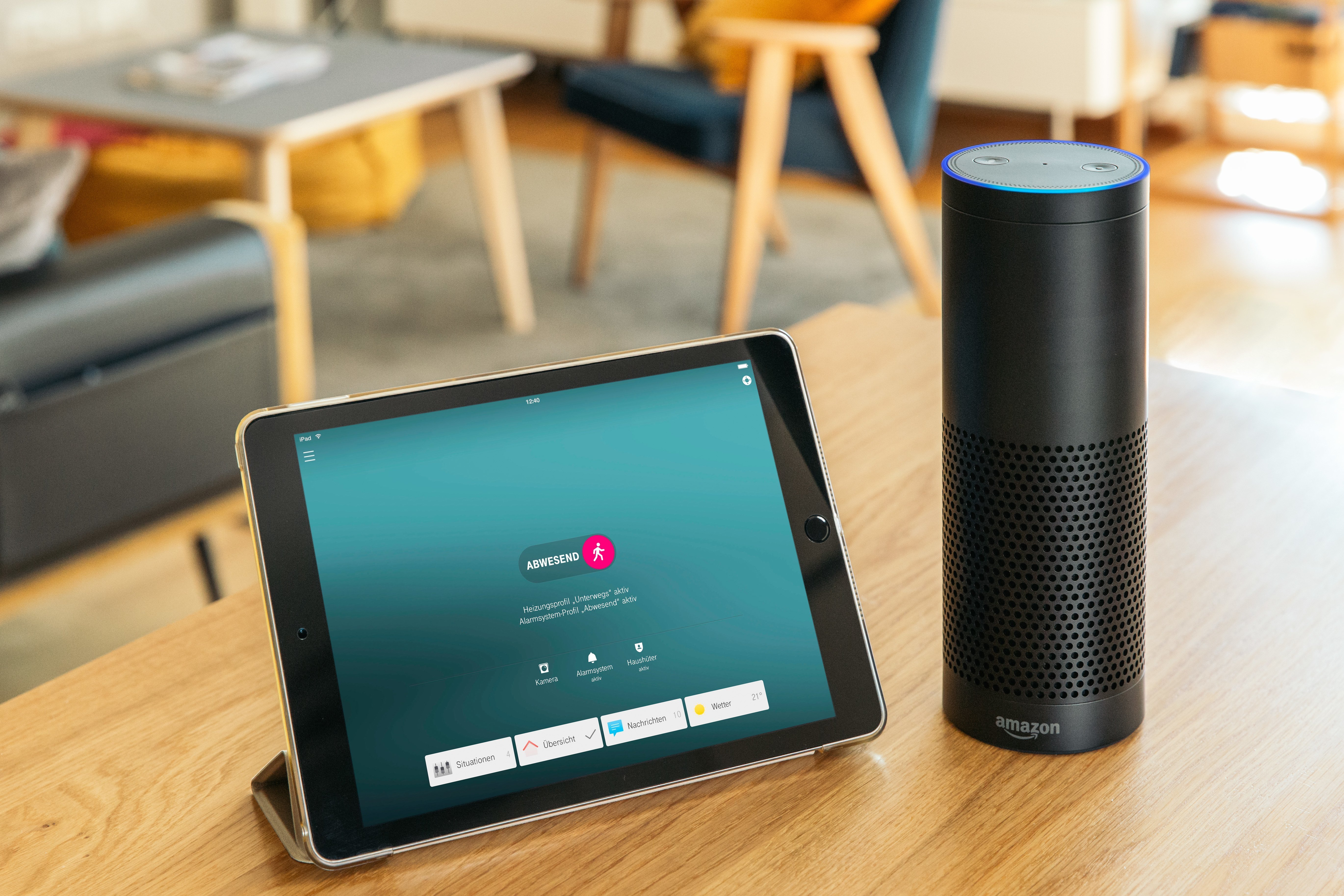 Amazon ECHO in connection with Telekom SmartHome app on tablet