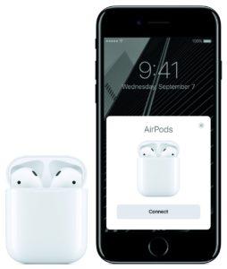 AirPods mit Case (geöffnet), iPhone 7 (Diamantschwarz)