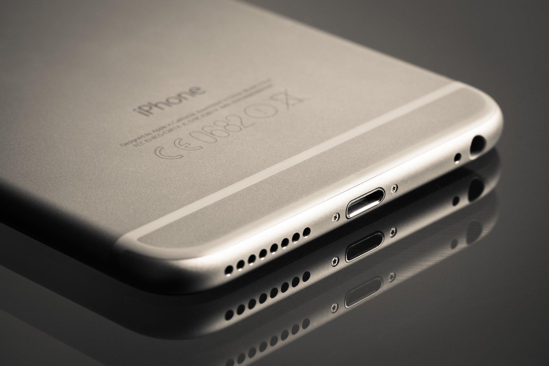 iPhone 6 silber (Rückseite und Lightning)