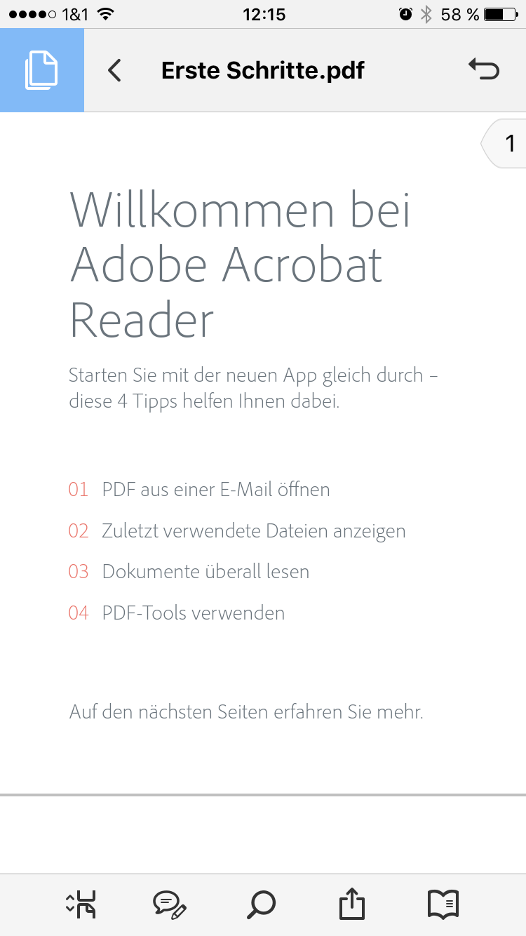 Adobe Acrobat Reader App (PDF ansehen) - Screenshot