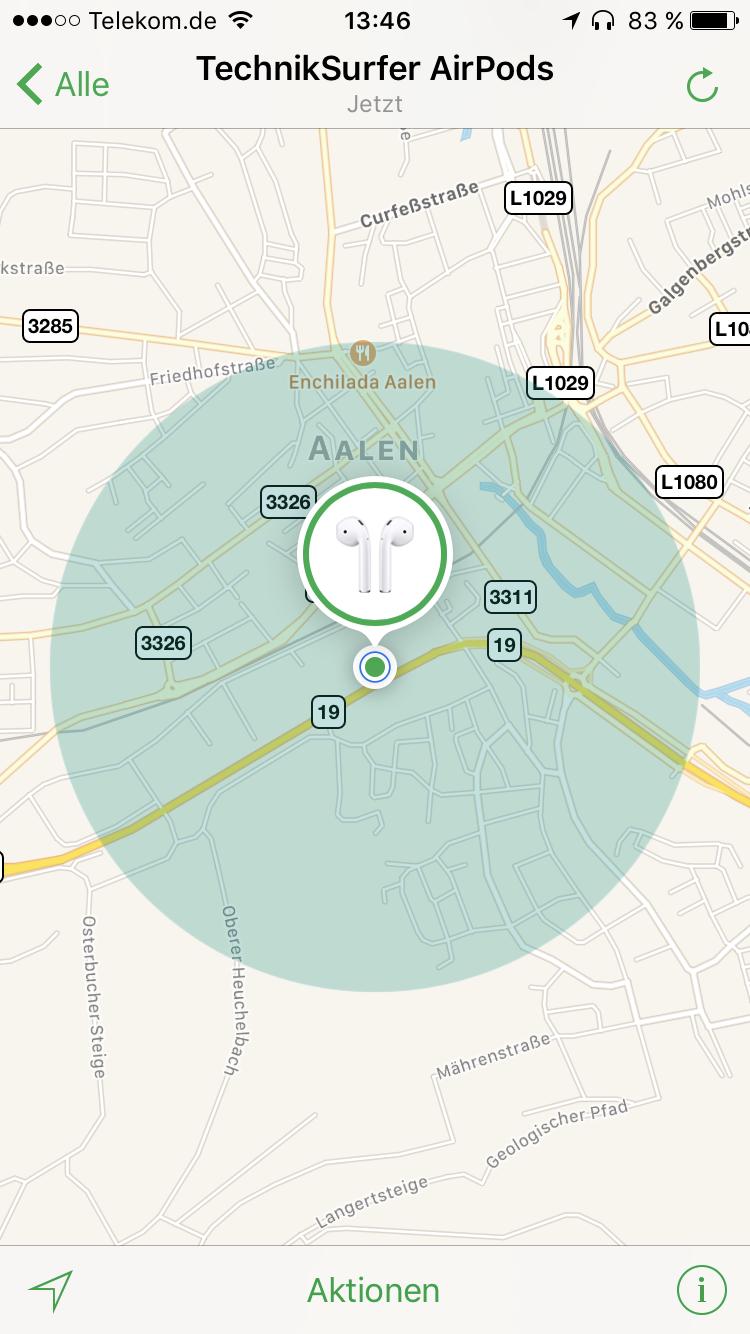 AirPods suchen / Screenshot - TechnikSurfer