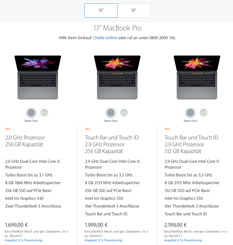Apple Store Preisliste MacBook Pro 13 - Screenshot Apple.de