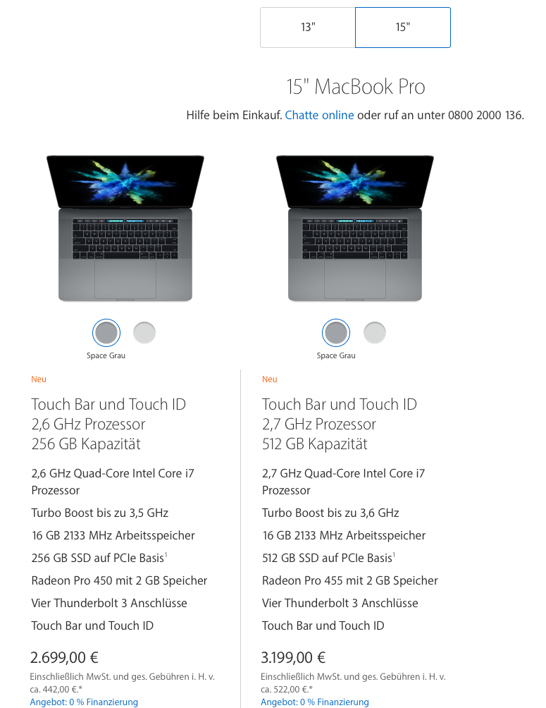 Apple Store Preisliste MacBook Pro 15 - Screenshot Apple.de