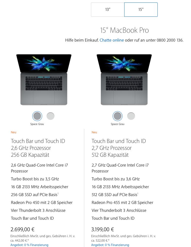 Apple Store Preisliste MacBook Pro 15 - Screenshot Apple.de