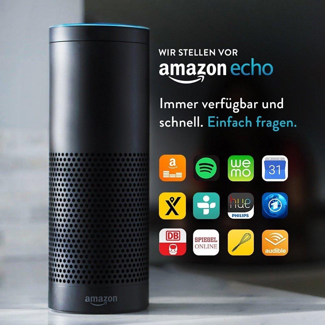 Amazon Echo - schwarz, Vorderansicht, Apps - Amazon Presse