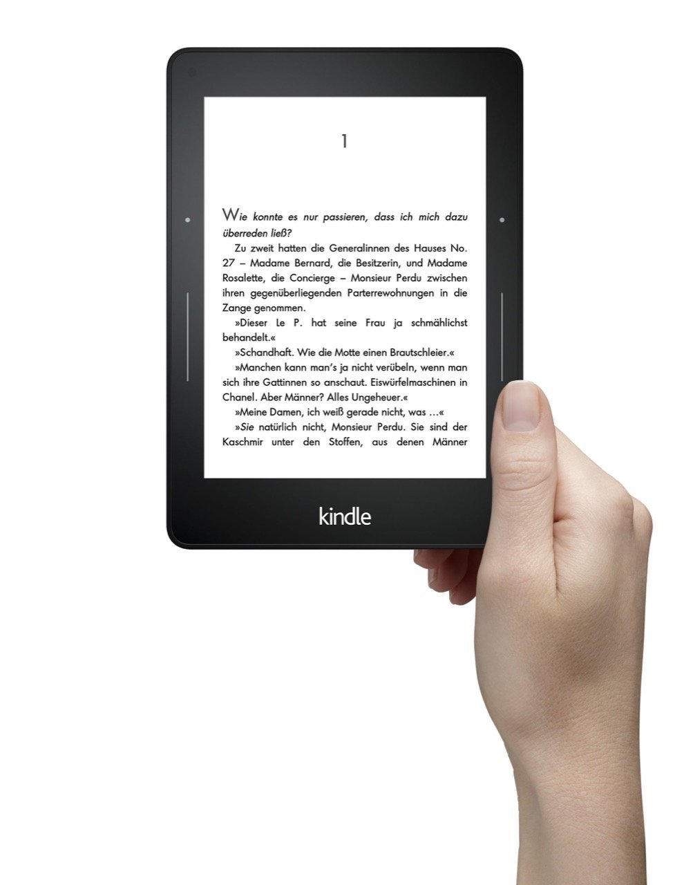 Amazon Kindle Voyage, Vorderseite, in der Hand - Amazon Presse