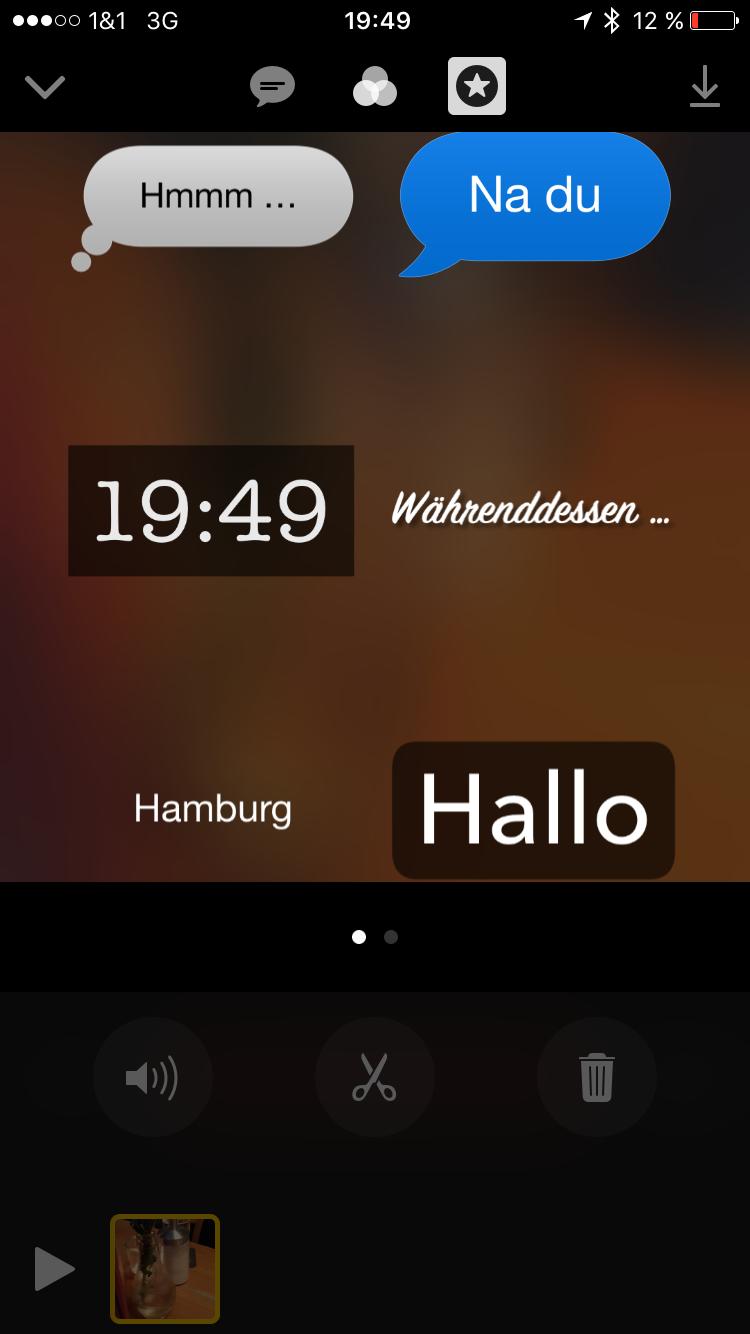Apple Clips 5 - Text Sticker hinzufügen - Screenshot