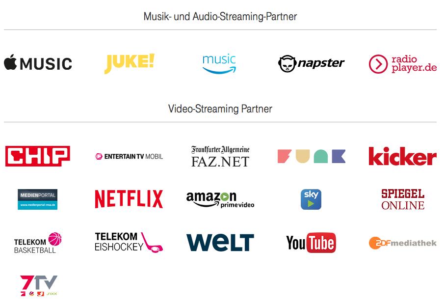Telekom Stream On - Partner - Screenshot Telekom.de