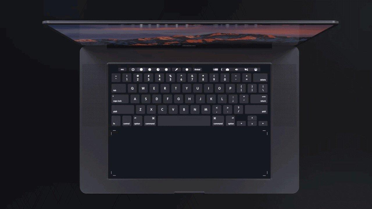 MacBook Pro Concept TouchBar Tastatur (Ansicht von oben) - Design by Daniel Brunsteiner (behance