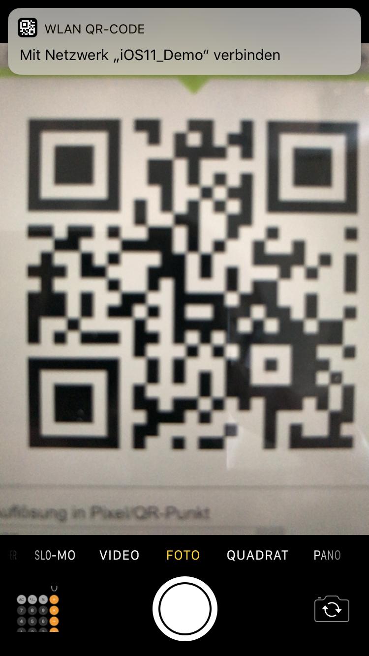 QR-Code-Erkennung unter iOS 11 - Scrrenshot / TechnikSurfer
