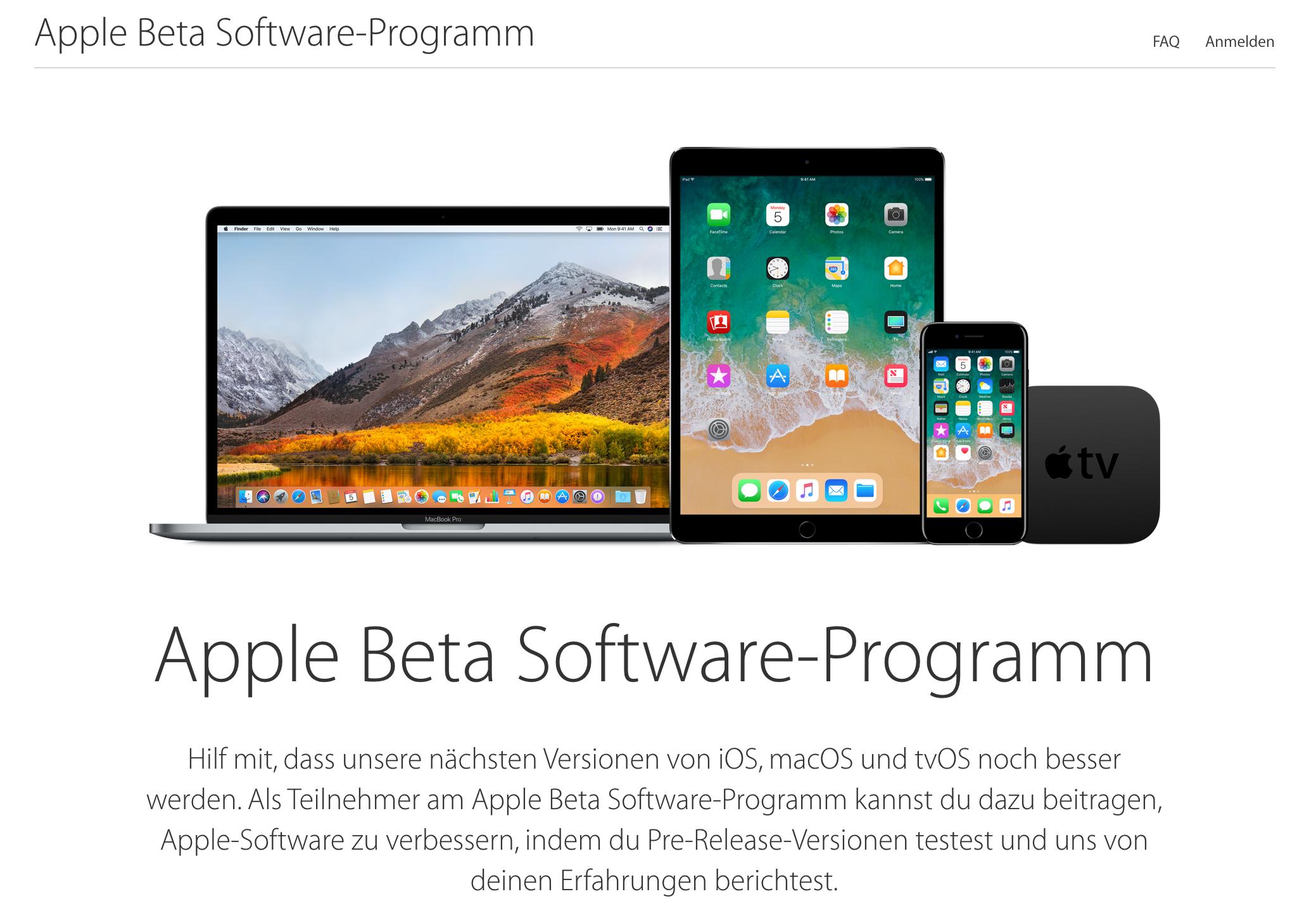 Öffentliche Beta von macOS High Sierra, iOS 11 und tvOS 11 (vlnr)