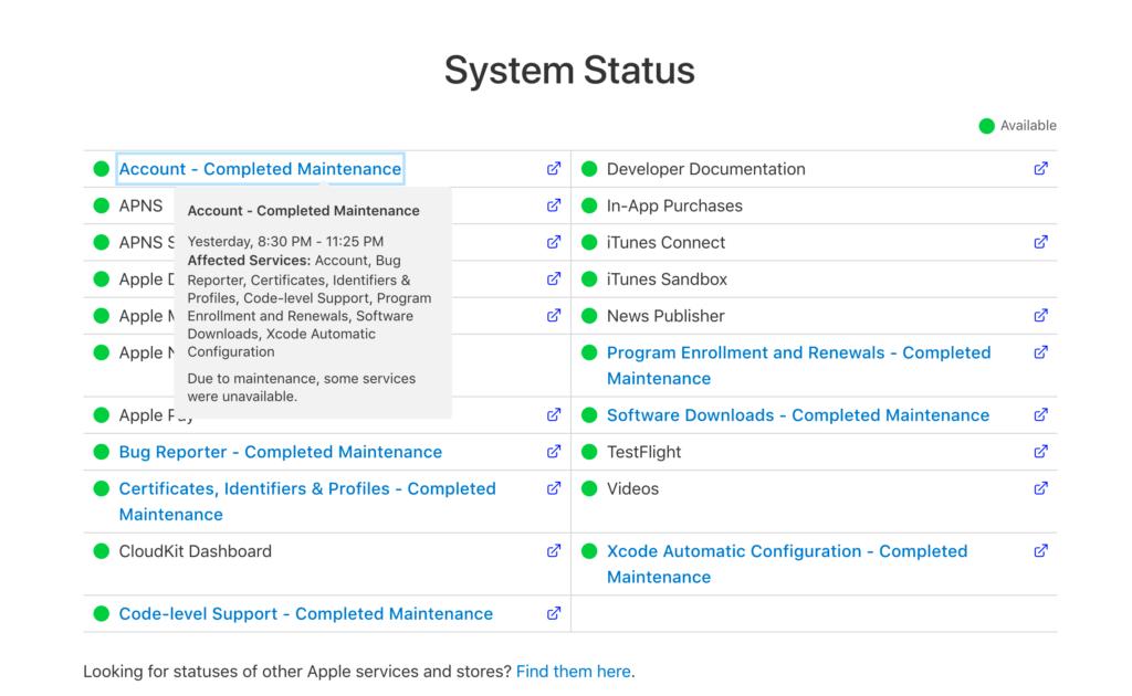 Wartungsarbeiten im Entwickler-Portal, Bild: Screenshot