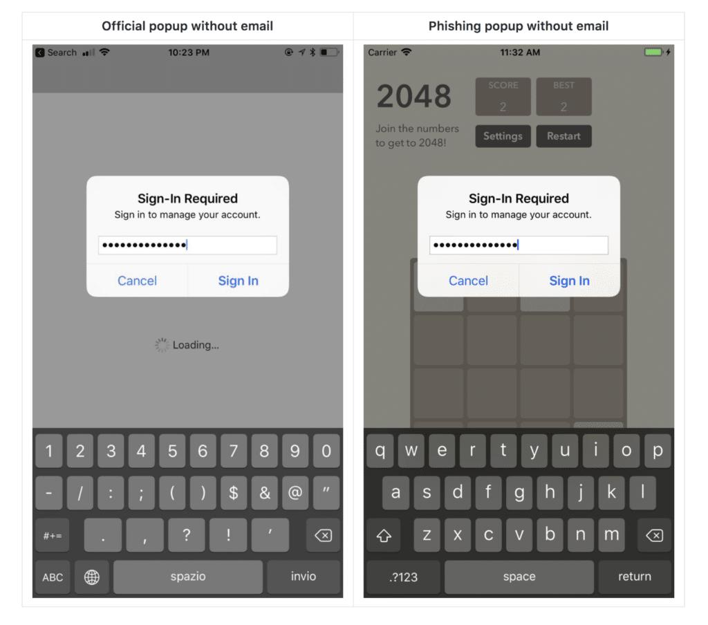Passwort-Phishing mit iOS-Bordmitteln, Bild: Felix Krause