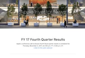 Apple Quartalszahlen Q4 2017, Bild: Screenshot
