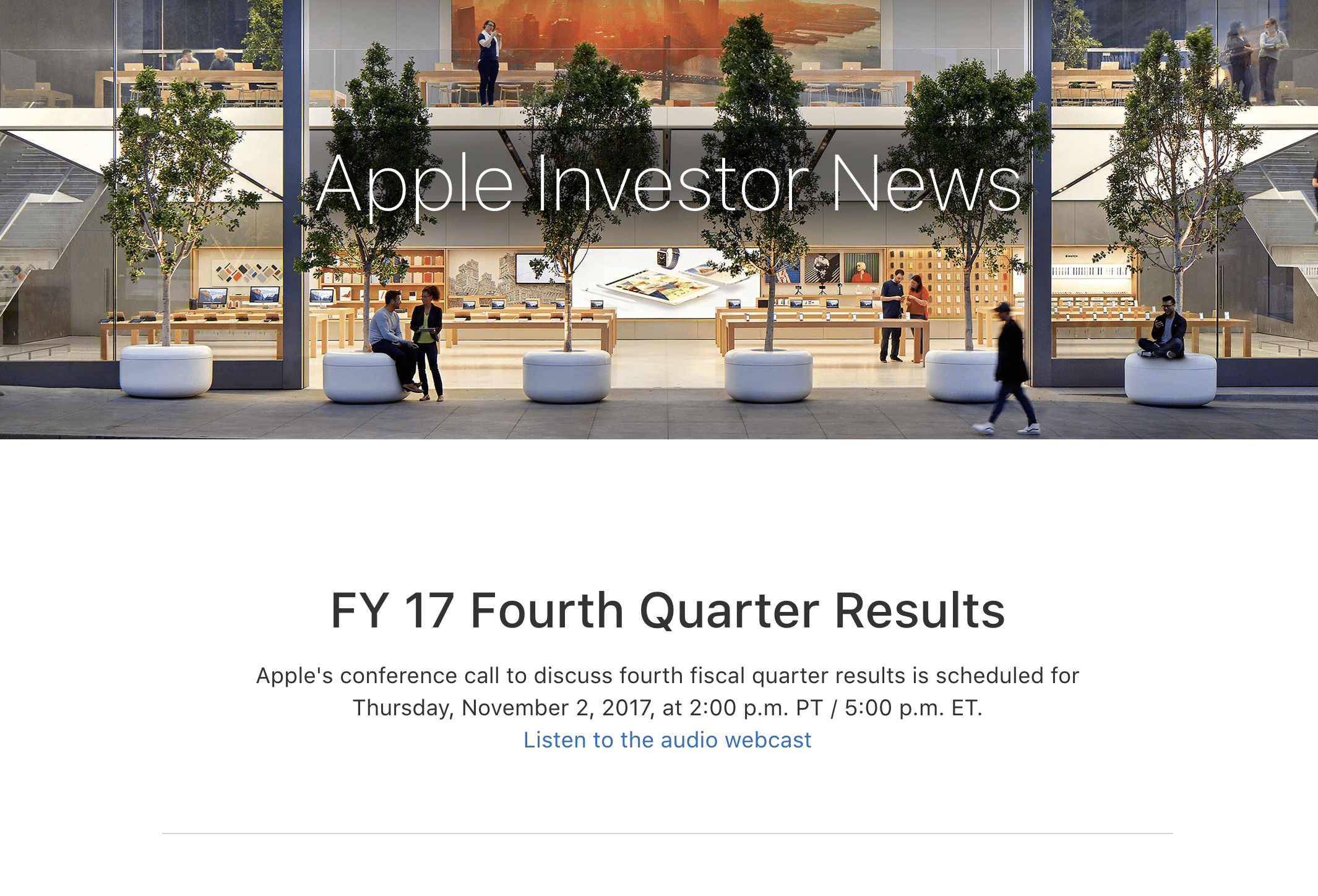 Apple Quartalszahlen Q4 2017, Bild: Screenshot