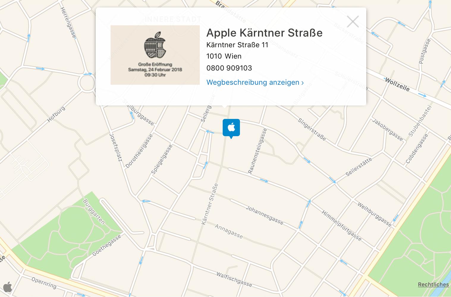 Apple Store Wien - Wegbeschreibung - Screenshot