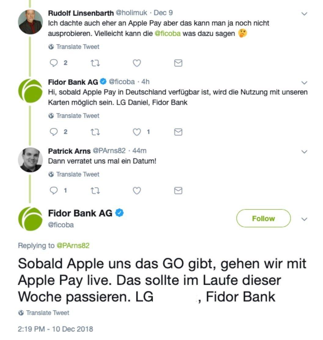 Fidor Apple Pay