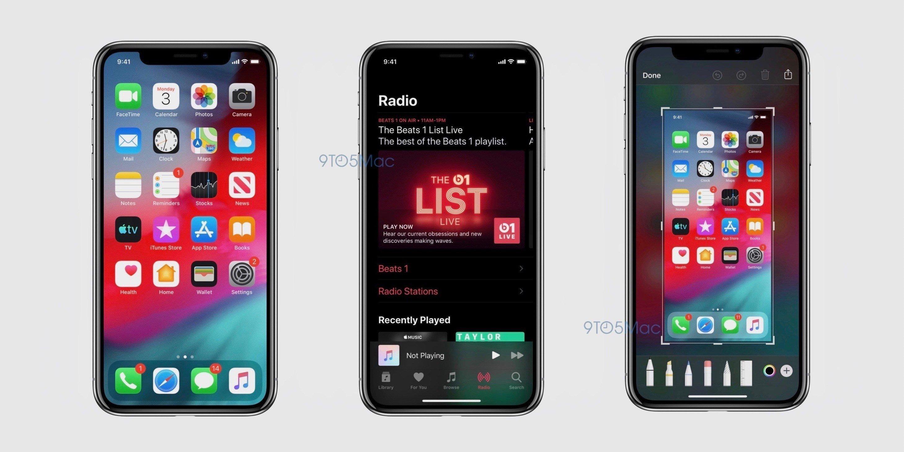 iOS 13 Dark-Mode - Screenshot / 9to5Mac