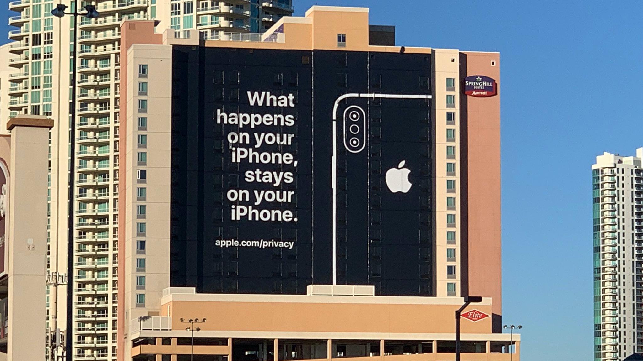 Apple-Werbung auf Hotelwand zu Privatsphäre