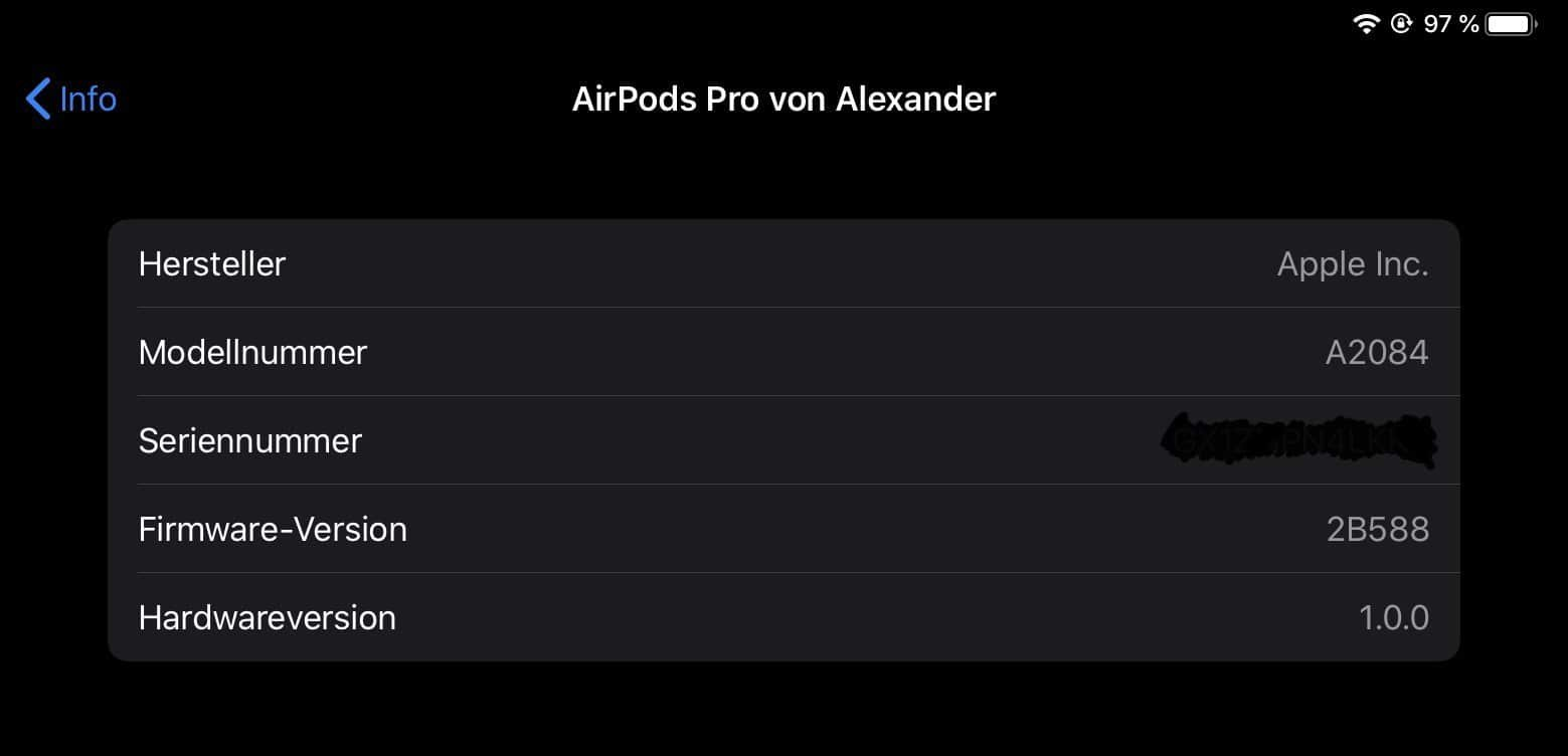 AirPods Pro Firmware-Version