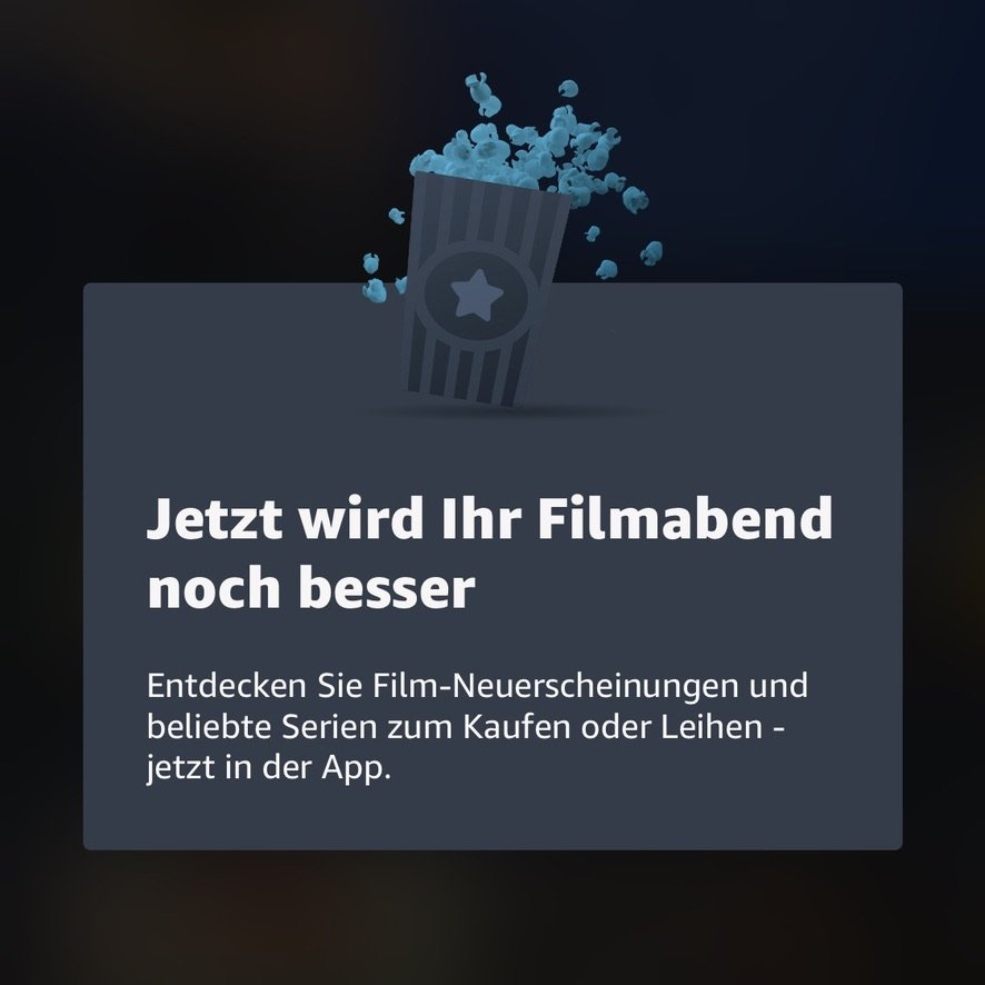 Hinweis in Amazon Prime Video App