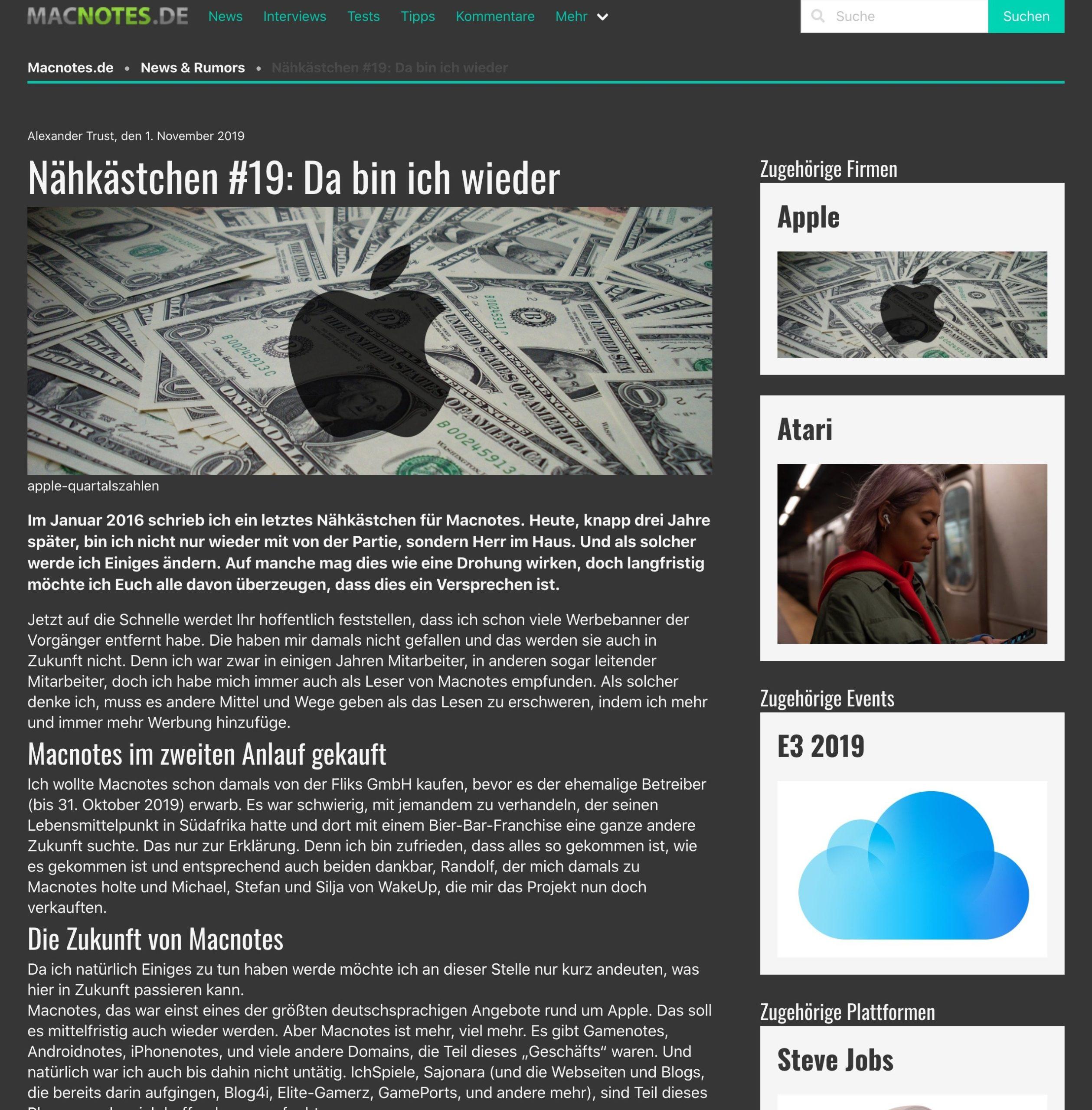 Artikelseite von Macnotes 2020