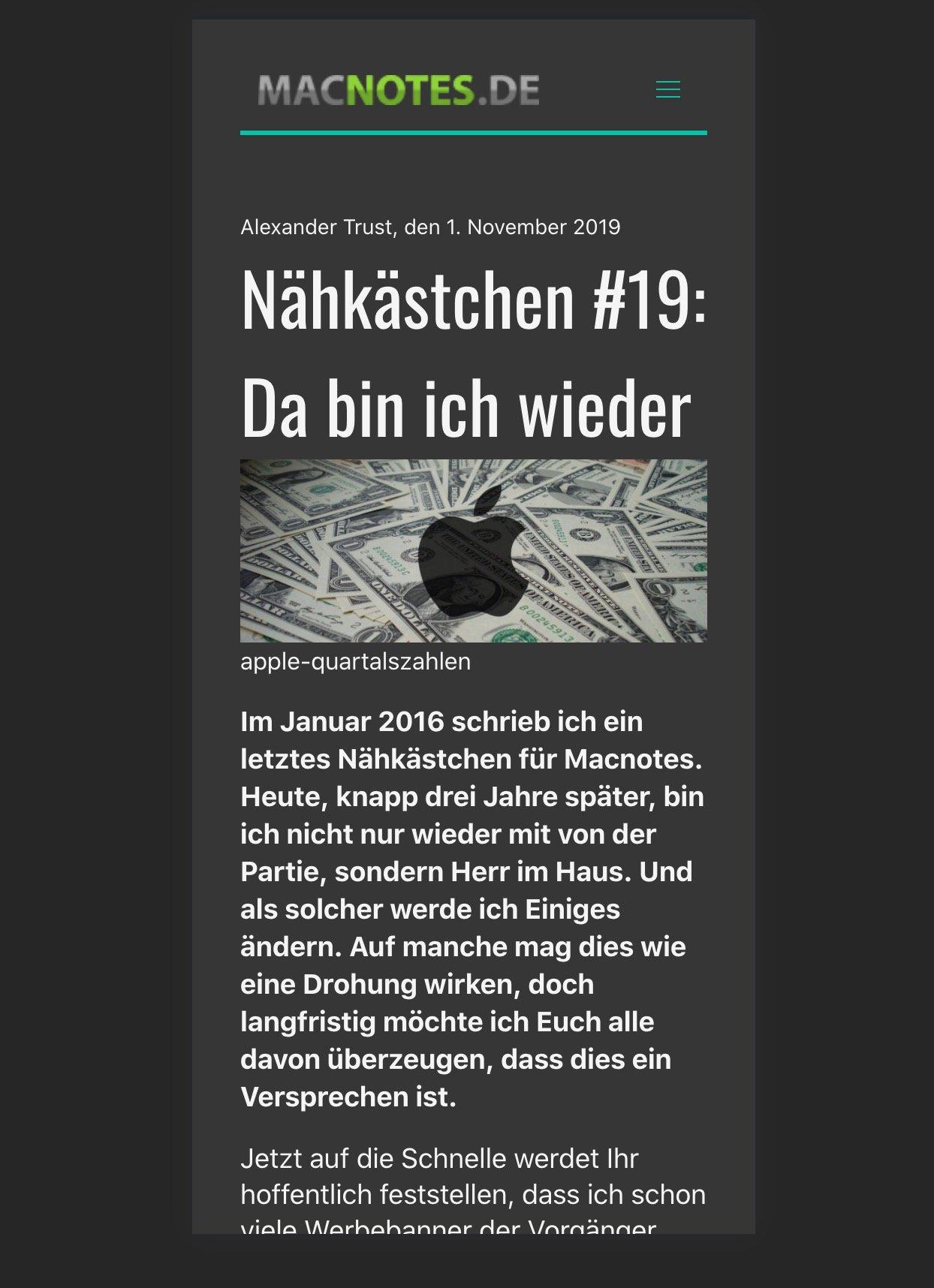 Artikelseite von Macnotes 2020 auf dem iPhone