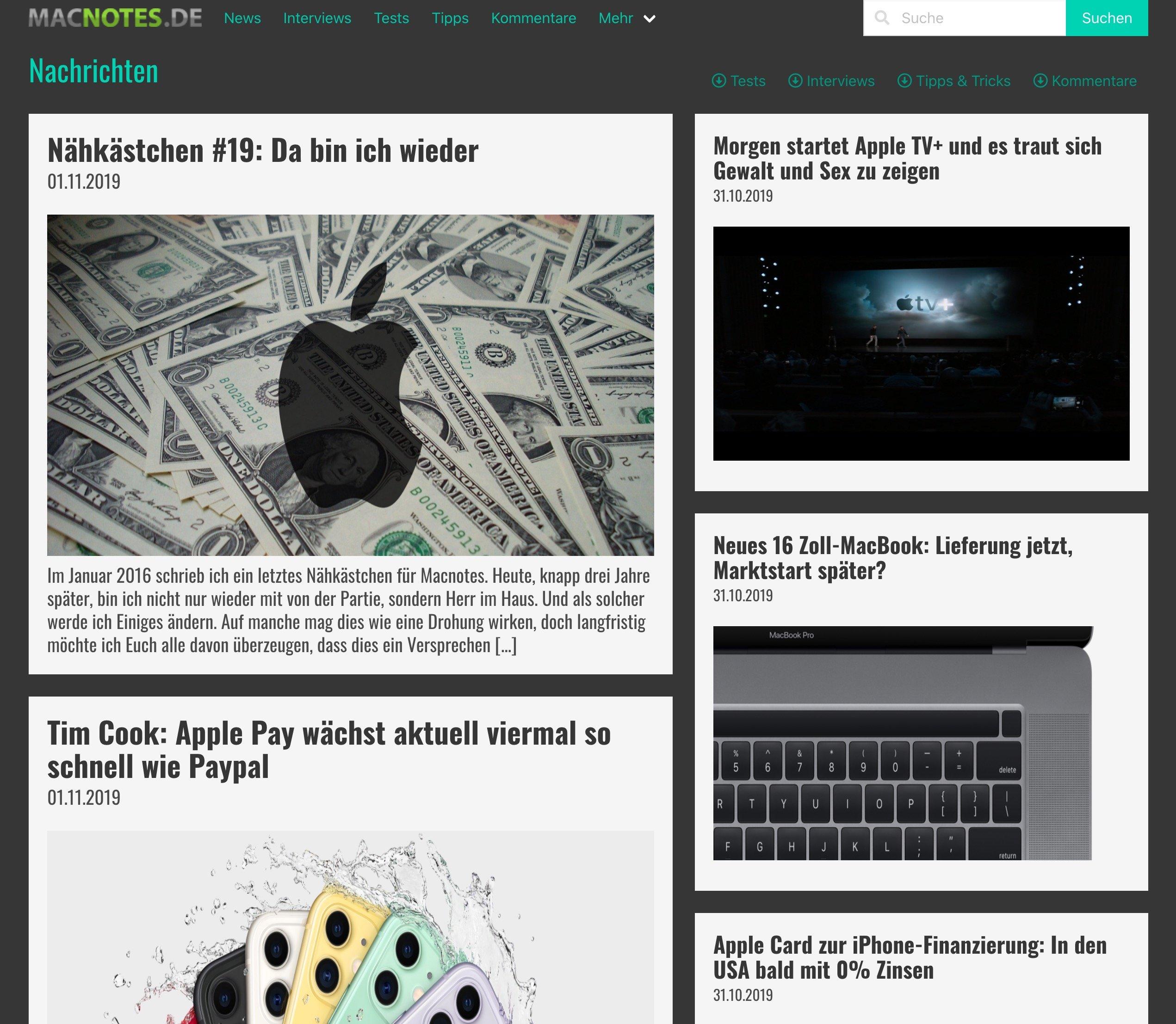 Startseite von Macnotes 2020