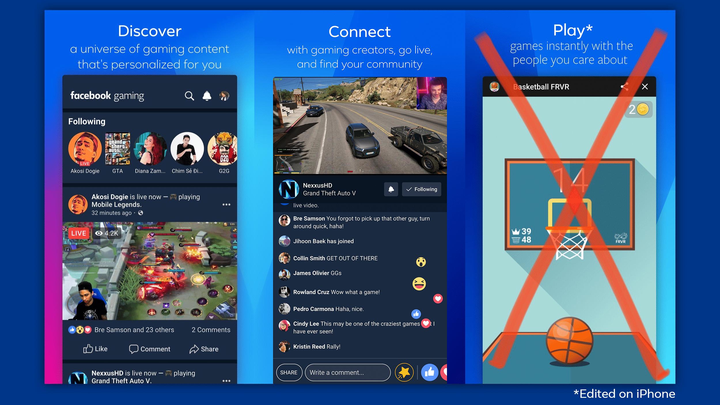Facebook Gaming ohne Spiele auf iOS