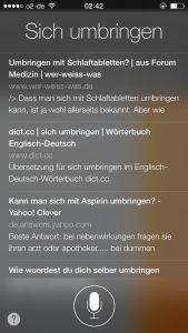 """Siri-Reaktion, wenn man """"sich umbringen"""" sagt"""