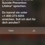 """Siri-Reaktion, wenn man """"Ich will mich umbringen"""" sagt"""