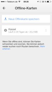 Google Maps Liste der Offline Karten