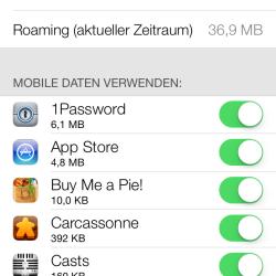 iPhone: Datenverbrauch-Anzeige in iOS 7