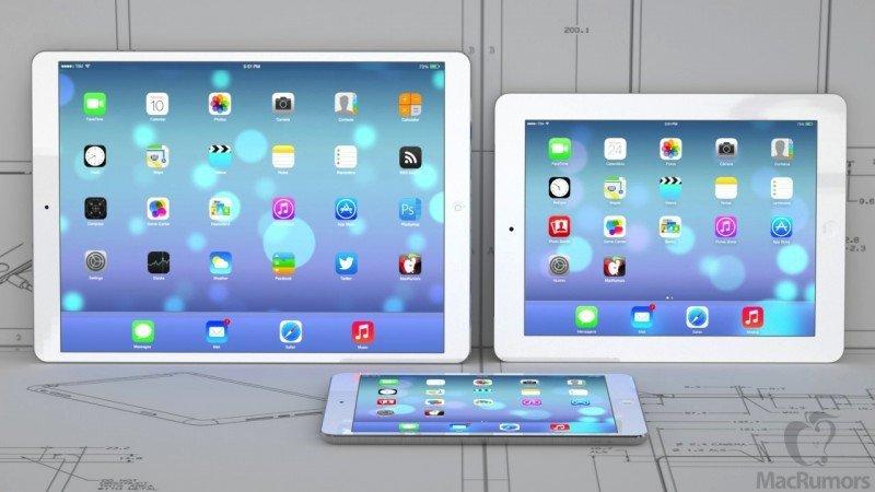 Im Vergleich: iPad mini, iPad und iPad 13 Zoll, Bild: Macrumors