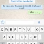 Nachrichten-Ansicht in der Whatsapp-Beta für iOS 7