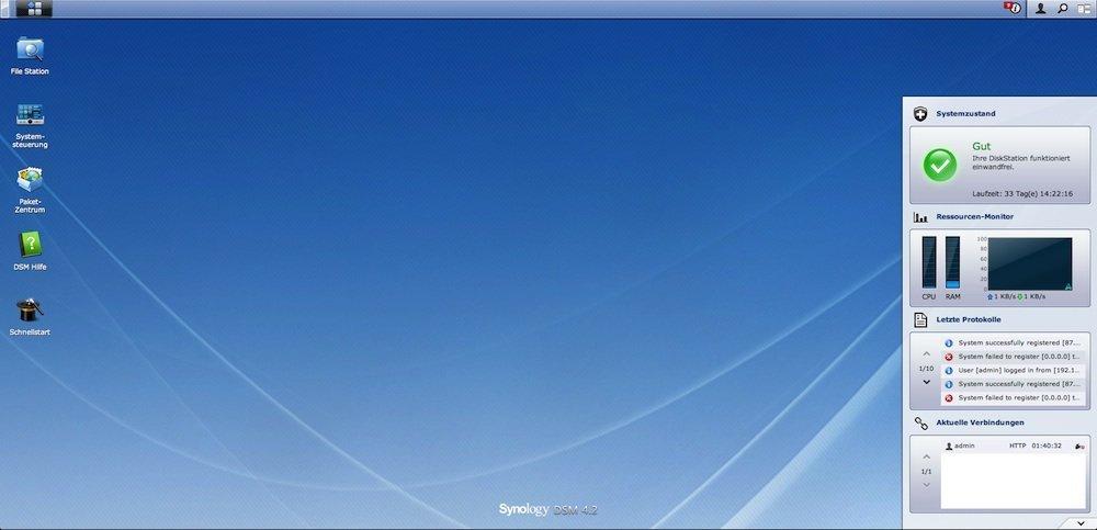 DiskStation: Benutzeroberfläche