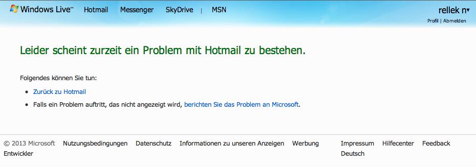 Hotmail down - Meldung des Webmailers
