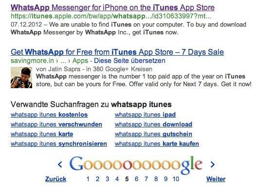 """Google-Suche nach """"Whatsapp iTunes"""""""