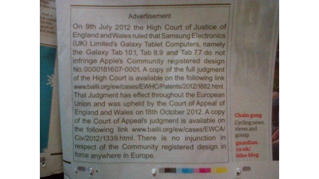 Anzeige von Apple im Guardian mit Entschuldigung bei Samsung Electronics