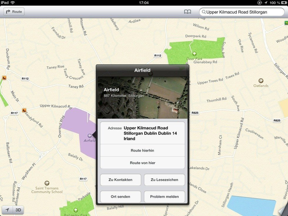 Airfield Park in Apple Maps in Dundrum, Dublin